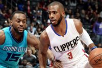 Chris Paul Drives Past Kemba Walker Who Puts his Hand on CP3's Waist