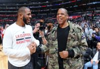 Chris Paul Shakes Hands with Dr Dre 2016 at Staples Center