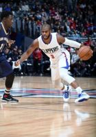 Chris Paul looks to do a crossover move vs the Pelicans 2015