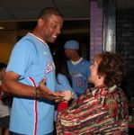 Doc Rivers greets a fan at Basketbowl 2014
