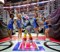 Clipper Spirit Girls Pose with Chuck the Condor in a Funny Picture