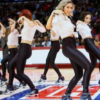 Clipper Spirit Girls in Black Leather Pants and White Top Dancing at Staples Center 2016