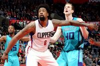 DeAndre Jordan Eyes the Rim as He boxes Out for a Rebound in 2016 @ Staples Center vs Hornets