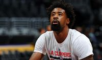 DeAndre Jordan Focuses on the Rim as He Practices a Free Throw