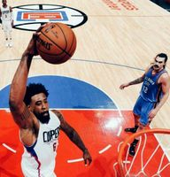 DeAndre Jordan goes for the right hand slam dunk at Staples Center vs Thunder 2016