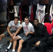 Clipper Teammates Blake Griffin Cole Aldrich and Josh Smith Group Photo in the Locker Room