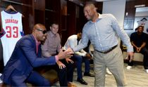 Doc Rivers Fives Paul Pierce as Cole Aldrich and DeAndre Jordan Look on