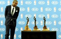 Jamal Crawford Looks at his 3 6th Man of the Year Trophies in 2016