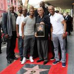 Ralph Lawler Getting His Hollywood Star of Fame Flanked by Chris Paul Sam Cassell Doc Rivers Corey Maggette Olden Polynice Lamond Murray and John Williams