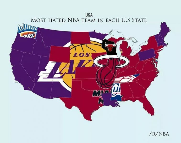 Map of the Most Hated NBA Teams (Clippers in It)